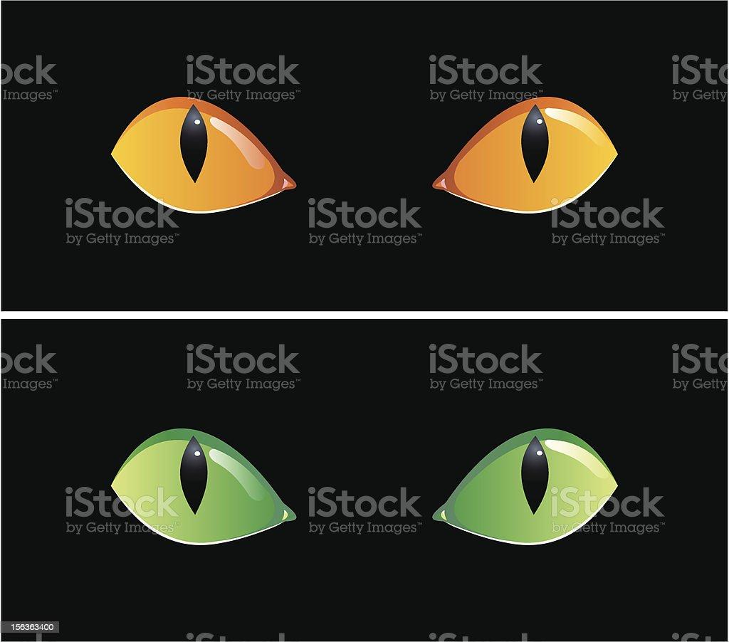 Eyes in dark vector art illustration