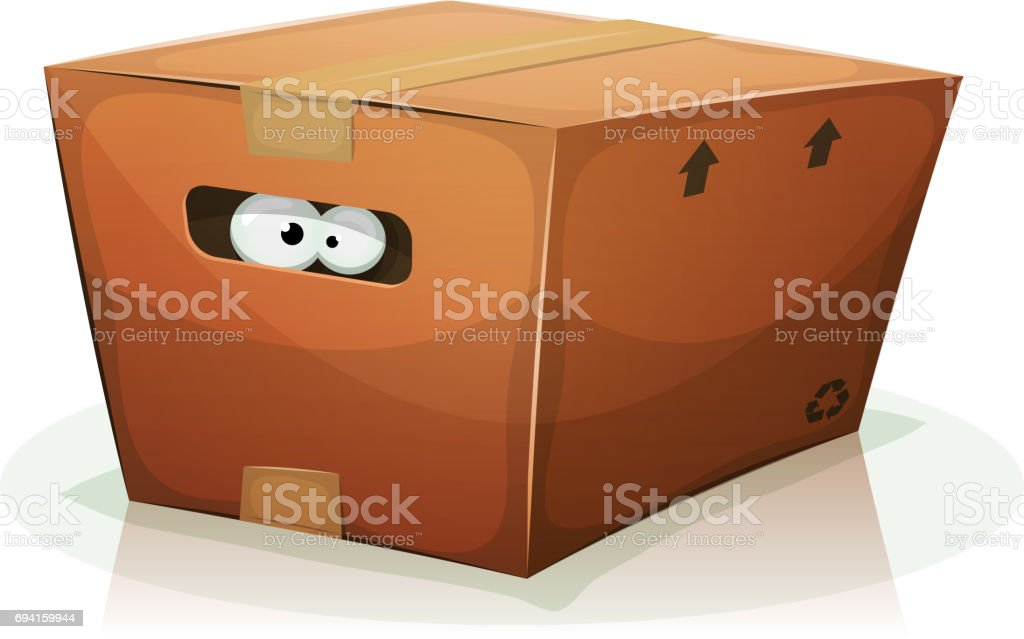 Eyes Inside Cardboard Box vector art illustration