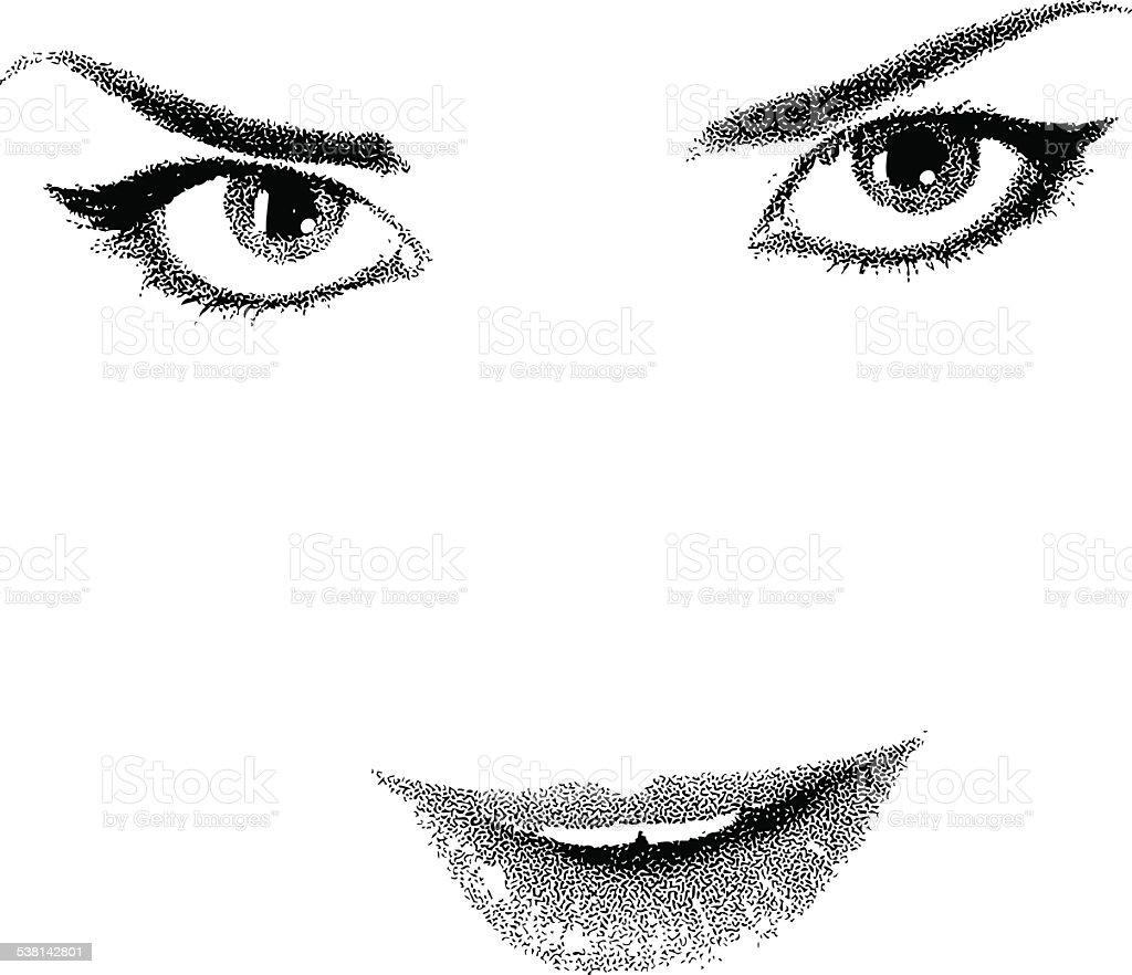 Eyes Lips High Key, Black and White vector art illustration