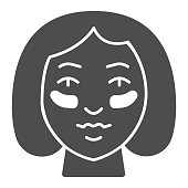 Eyes Patches on girl face solid icon, makeup routine concept, Girl face with patches sign on white background, Gel patch on woman face icon in glyph style for mobile. Vector graphics