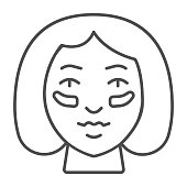 Eyes Patches on girl face thin line icon, makeup routine concept, Girl face with patches sign on white background, Gel patch on woman face icon in outline style for mobile. Vector graphics