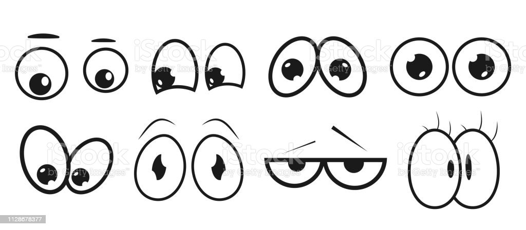 Eyes. Set Abstract eye expression. Collection of kids face elements for your design. High quality original trendy vector set of cartoon eyes - Векторная графика Антропоморфный смайлик роялти-фри