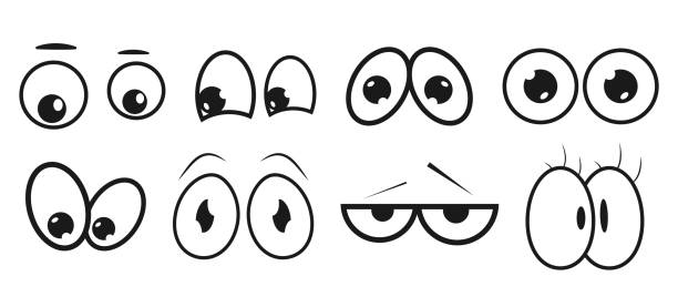 eyes. set abstract eye expression. collection of kids face elements for your design. high quality original trendy vector set of cartoon eyes - глаз stock illustrations