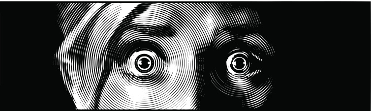 Retro engraving illustration of face with a terrified expression.