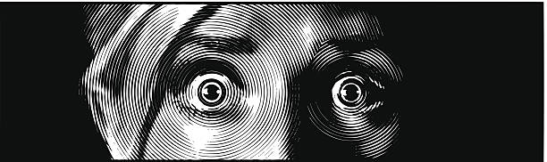 Eyes Terrified Retro engraving illustration of face with a terrified expression. shock stock illustrations