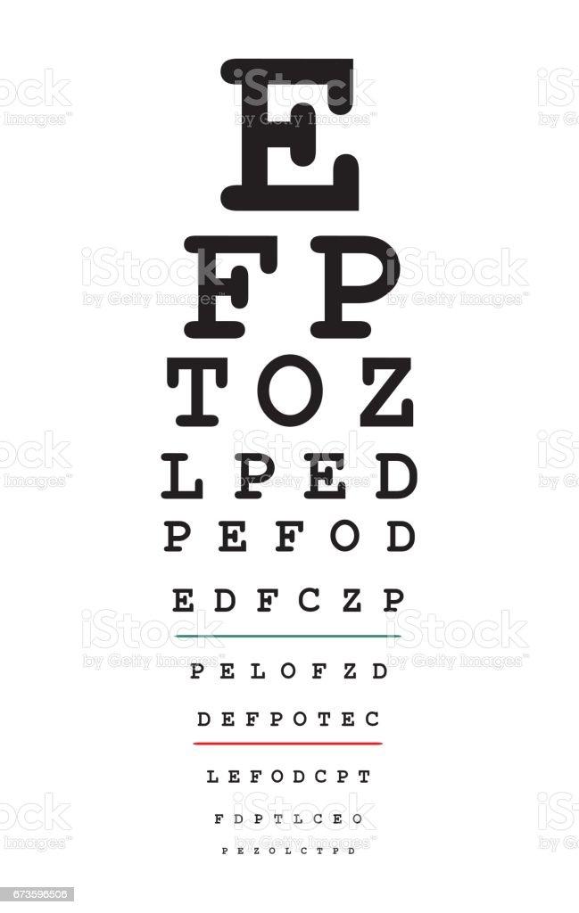 Eyes test chart vector art illustration