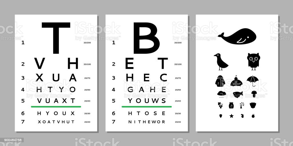 Eyes Test Chart Stock Vector Art More Images Of Alphabet 900464758