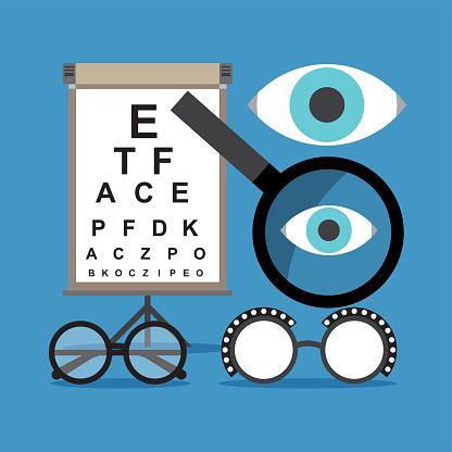 Eyes testing set of elements