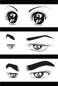 The vector illustration of the comics tone describing the eyes of the man and woman who shone glitteringly.Hand-Drawn.