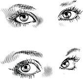 Engraving style illustrations of Human Eyes. Fully editable vector art.