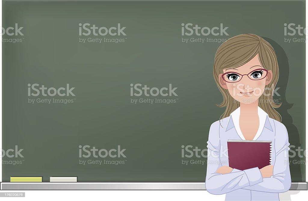 Eyewear glasses female teacher at blackboard vector art illustration