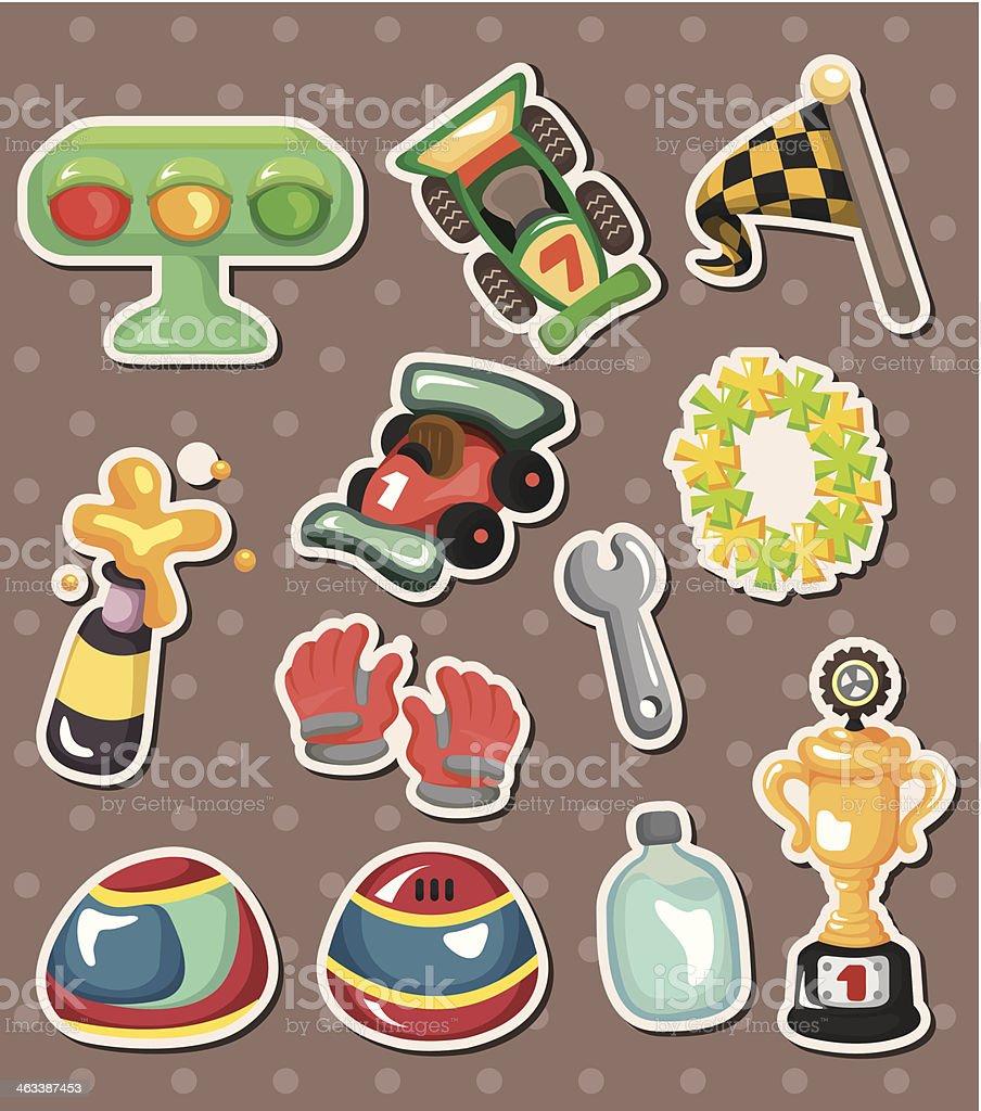 f1 car racing stickers vector art illustration