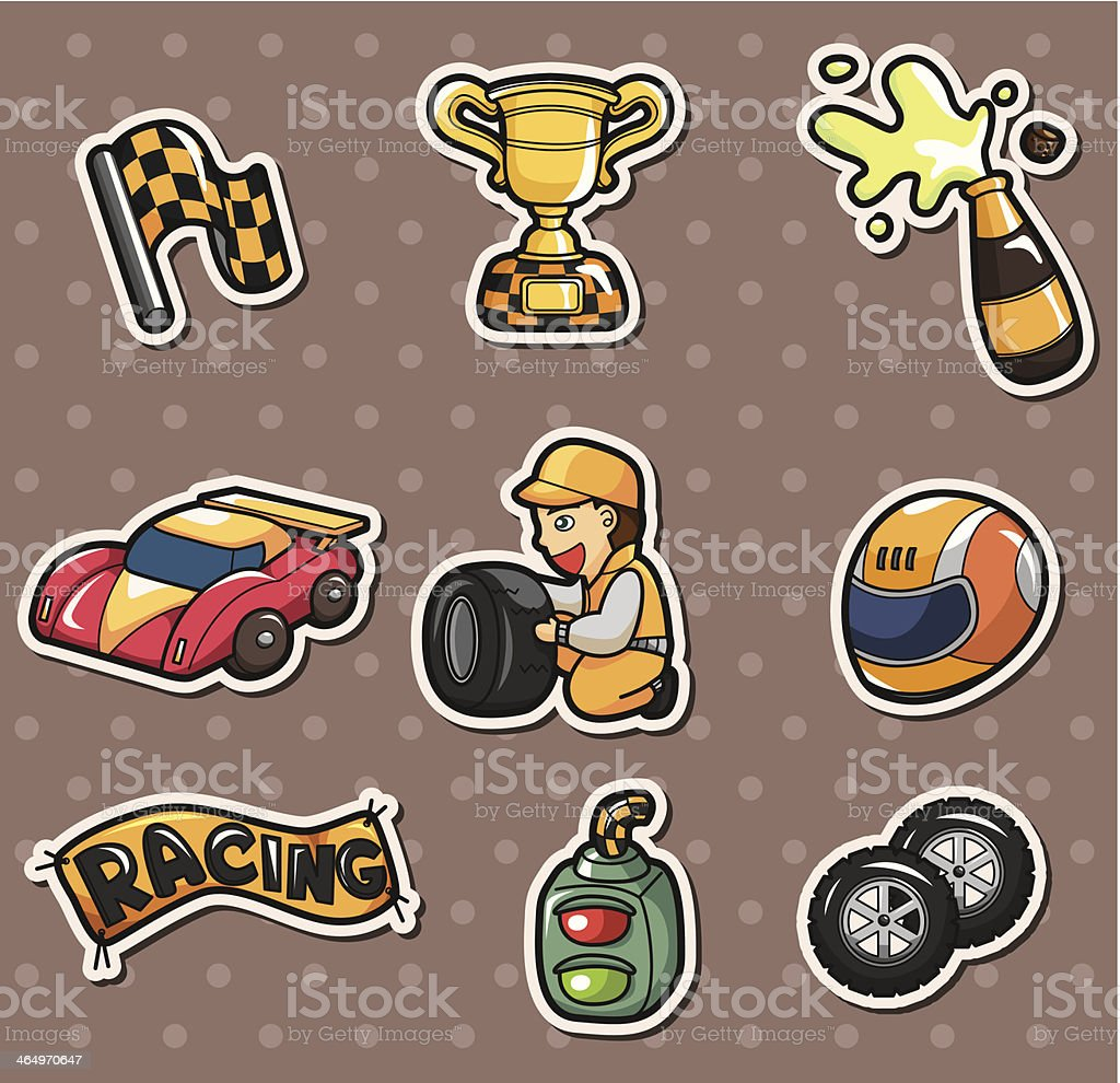 F1 Racing Stickers Stock Illustration - Download Image Now - iStock