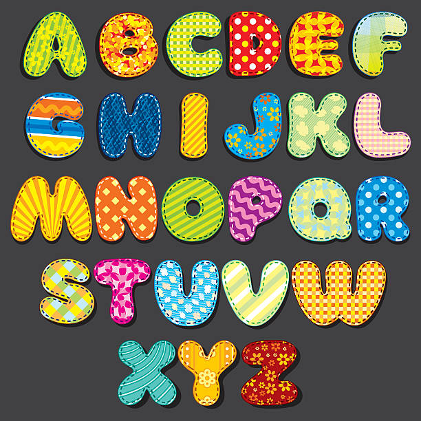 Fabric Alphabet. Fun Cartoon Letters Patches vector art illustration