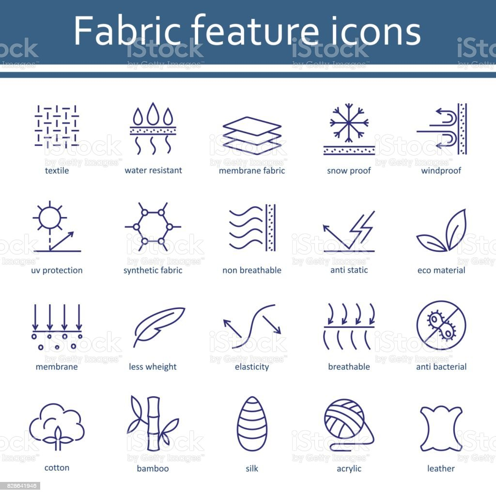 Fabric and clothes feature line icons. vector art illustration
