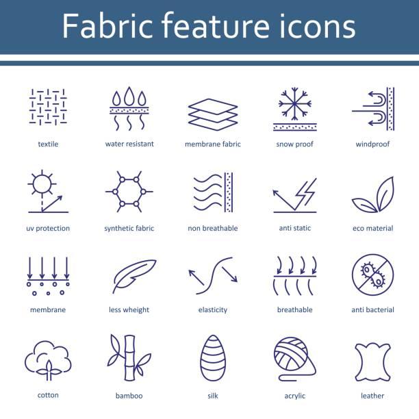ilustraciones, imágenes clip art, dibujos animados e iconos de stock de tela y ropa tienen los iconos de la línea. - comfortable