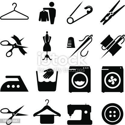 Laundry, alterations, dry cleaning and sewing icons. Vector icons for video, mobile apps, Web sites and print projects. See more in this series.