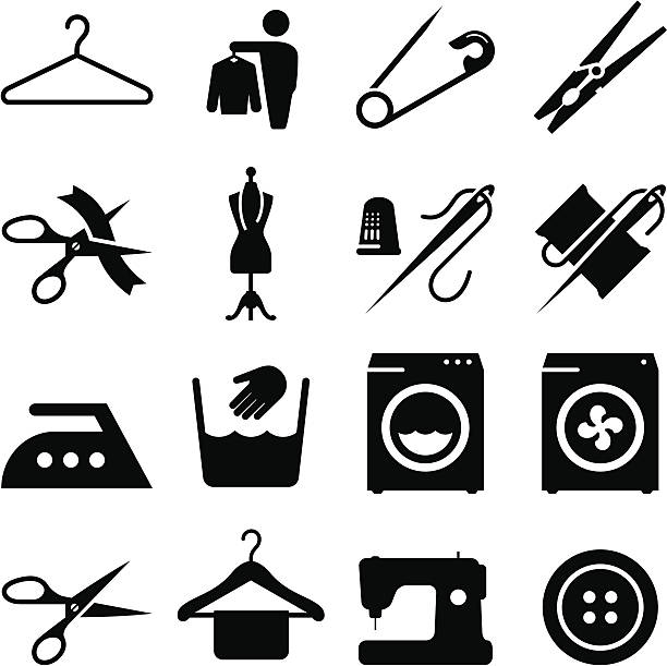 stockillustraties, clipart, cartoons en iconen met fabric and textiles icons - black series - op maat gemaakt