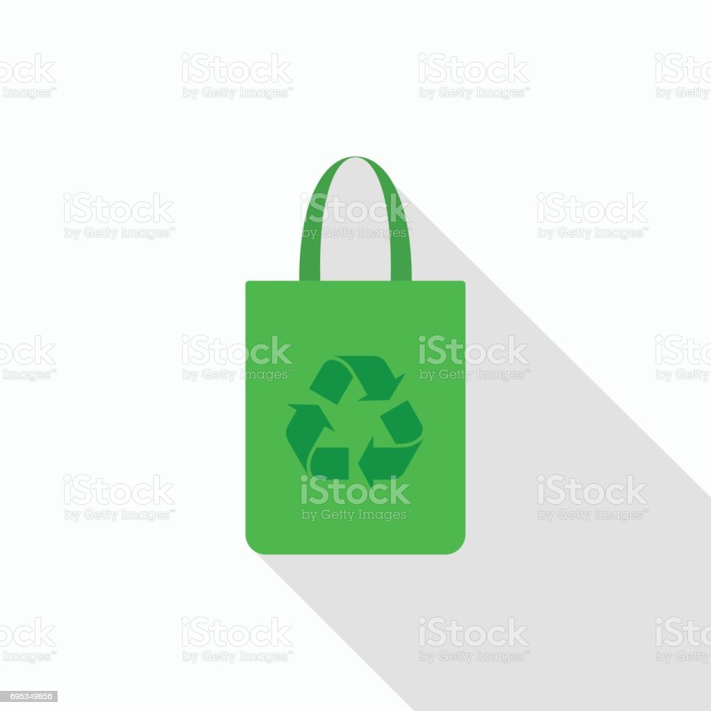 Fabric bag icon with recycle symbol with long shadow on gray background, flat design style vector art illustration