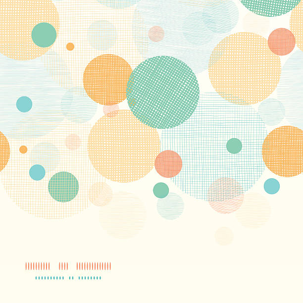 fabric circles abstract horizontal seamless pattern background - cheerful stock illustrations