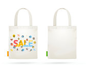Fabric Cloth Bag Tote for Sale Concept. Vector