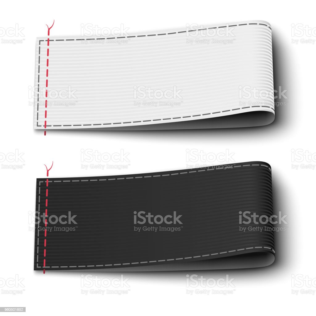 Fabric Elegant Label Tags Template In Black And White Colors ...