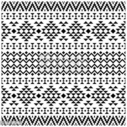istock Fabric Ethnic seamless geometric pattern, traditional tribal motifs in folk style, texture, background 1264767865