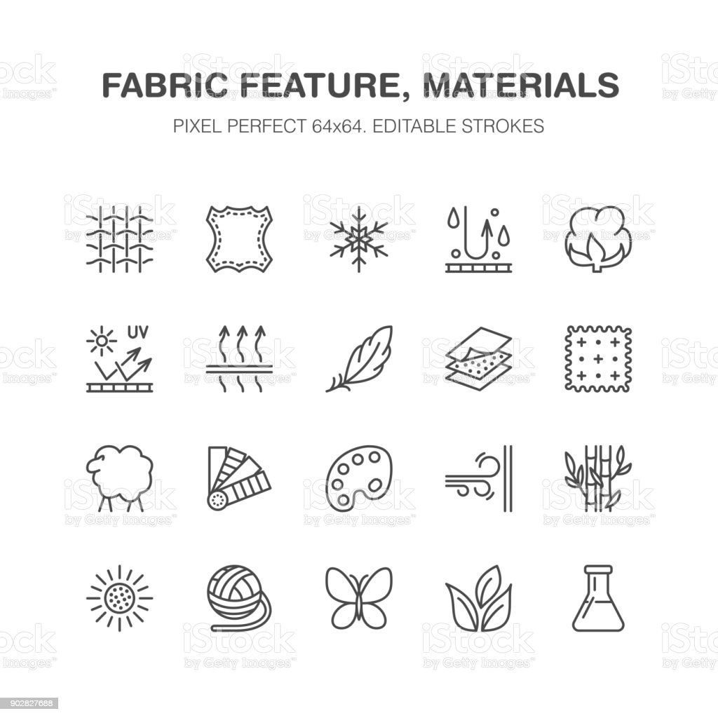 Fabric feature, clothes material vector flat line icons. Garment property symbols. Cotton wool, waterproof, wind resistant, uv protection. Wear label, textile industry pictogram. Pixel perfect 64x64 vector art illustration