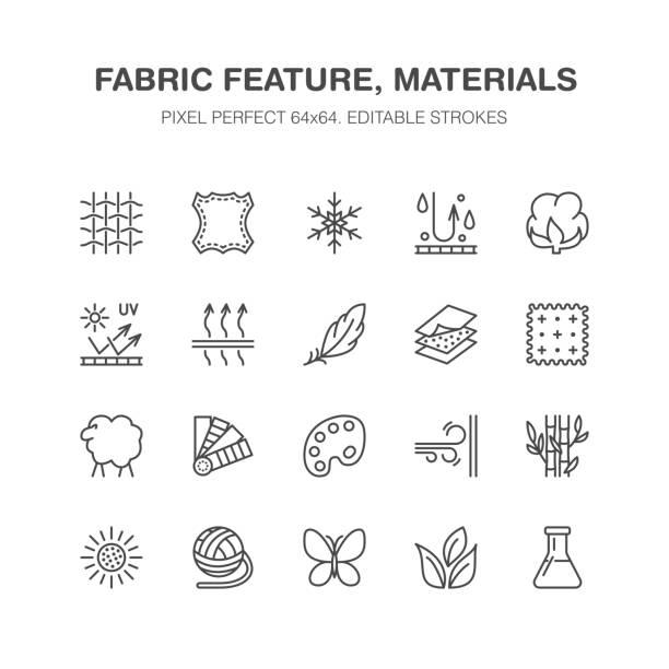 illustrations, cliparts, dessins animés et icônes de caractéristique du tissu, matériau de vêtements vectoriels icônes ligne plate. symboles de vêtement de propriété. coton, laine, imperméable, résistant au vent, protection contre les uv. porter l'étiquette, le pictogramme de l'industrie textile. pixel perfect 64 x 64 - fibre