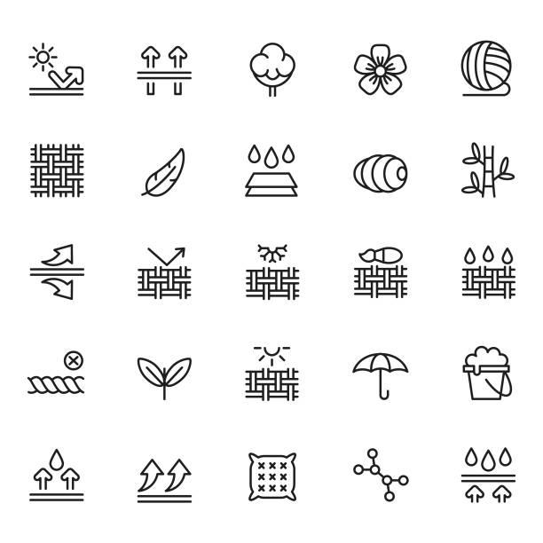 illustrations, cliparts, dessins animés et icônes de ensemble d'icônes de caractéristique de tissu - fibre