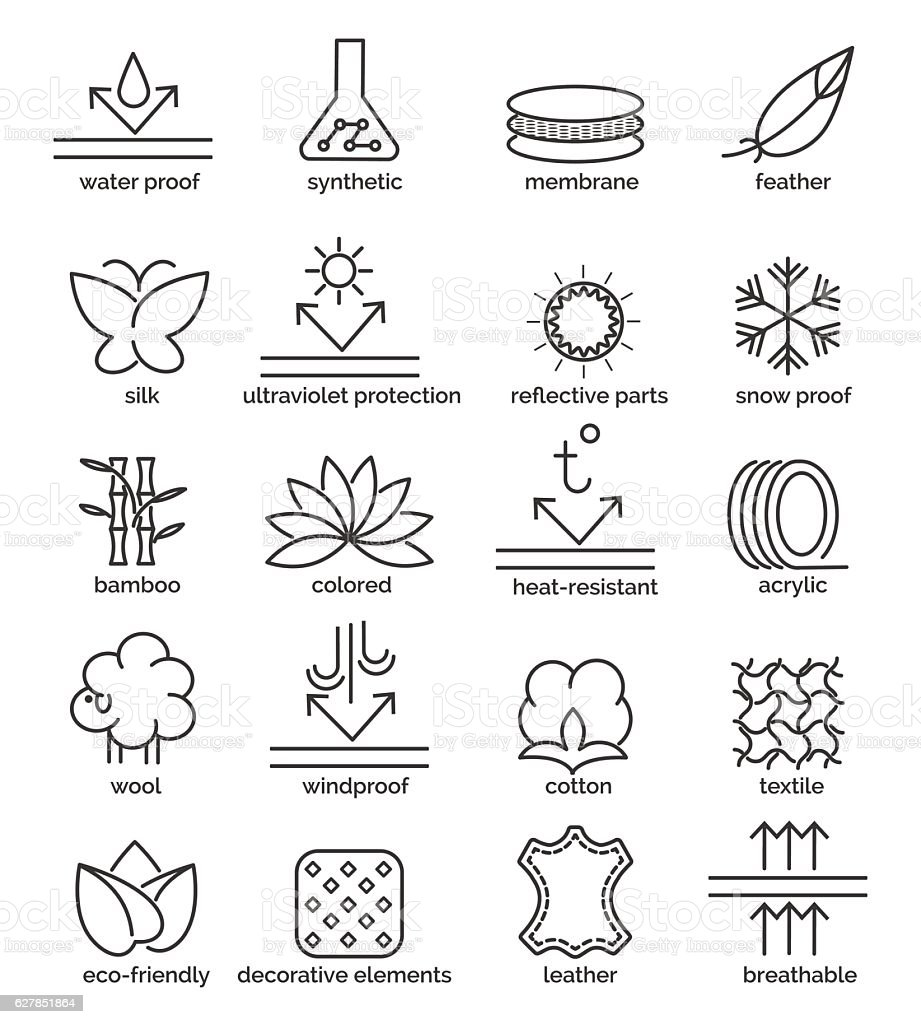 Fabric feature icons vector art illustration