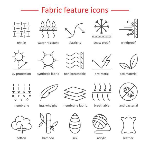 Stoff-Funktion Zeile Symbole. Piktogramme mit editierbaren Hub für g – Vektorgrafik