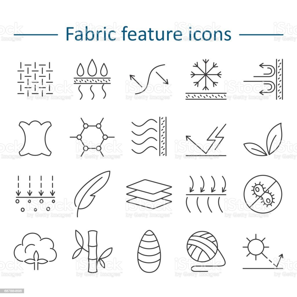 Fabric feature line icons. Pictograms with editable stroke for g vector art illustration