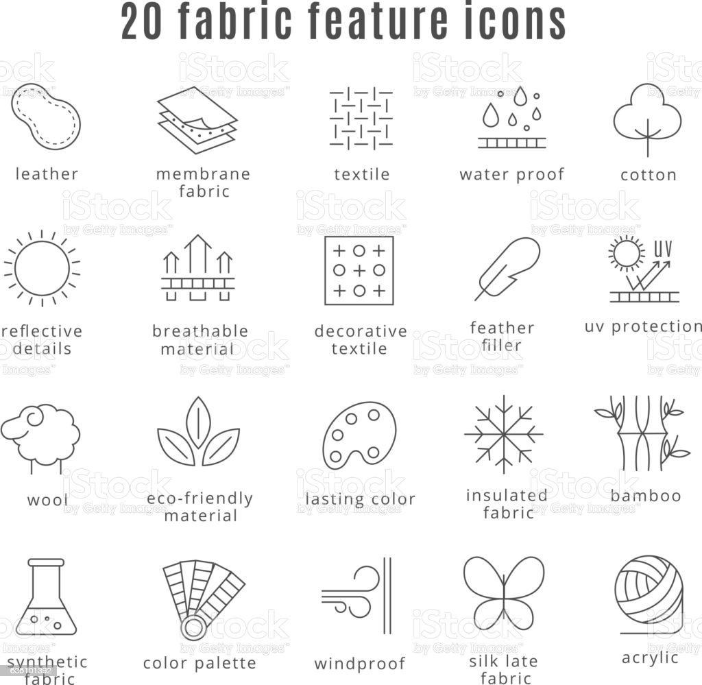 Fabric feature line icons vector art illustration
