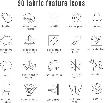 Fabric Feature Line Icons — стоковая векторная графика и другие изображения на тему Акриловое волокно