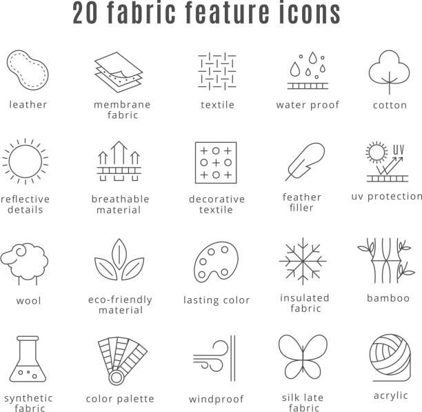 fabric feature line icons - крупный план stock illustrations