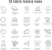 Fabric feature line icons