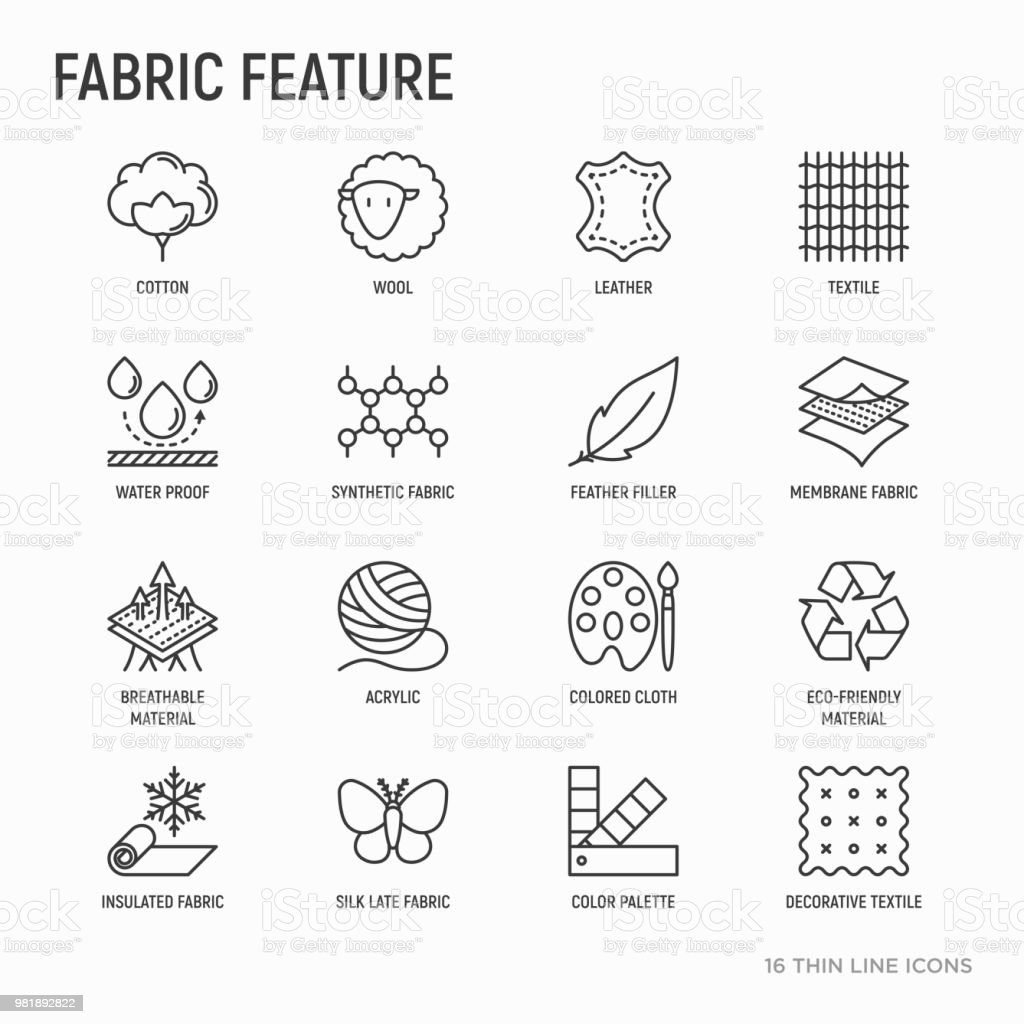 Fabric feature thin line icons set: leather, textile, cotton, wool, waterproof, acrylic, silk, eco-friendly material, breathable material. Modern vector illustration. vector art illustration