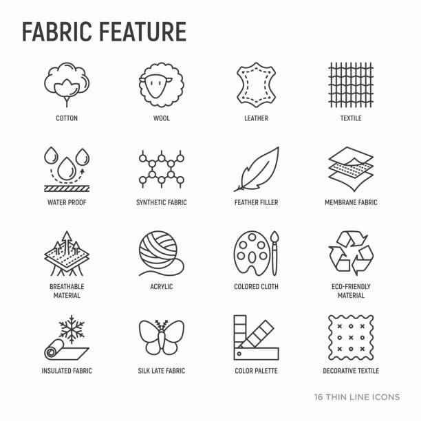 illustrazioni stock, clip art, cartoni animati e icone di tendenza di fabric feature thin line icons set: leather, textile, cotton, wool, waterproof, acrylic, silk, eco-friendly material, breathable material. modern vector illustration. - piume colorate