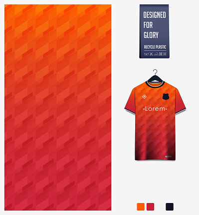 Fabric pattern design. Geometric pattern on orange background for soccer jersey, football kit or sports uniform. T-shirt mockup template. Abstract sport background.
