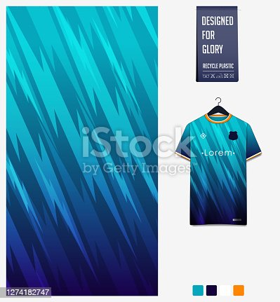 Fabric pattern design. Thunder pattern on blue gradient background.Soccer jersey, football kit, baseball uniform or sports shirt. T-shirt mockup template. Abstract background. Vector.