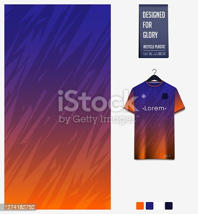 Fabric pattern design. Thunder pattern on blue orange gradient background.Soccer jersey, football kit, baseball uniform or sports shirt. T-shirt mockup template. Abstract background. Vector.