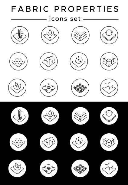 stoff-eigenschaften-symbole festgelegt. handgezeichnete lineare piktogramm-sammlung. thermische kontrolle schweißtransportierendes + starke & haltbar, ultra weiche atmungsaktive anti-pille + nicht rutschig + anti-mikrobiell nicht verblassen. editierbare s - nass stock-grafiken, -clipart, -cartoons und -symbole