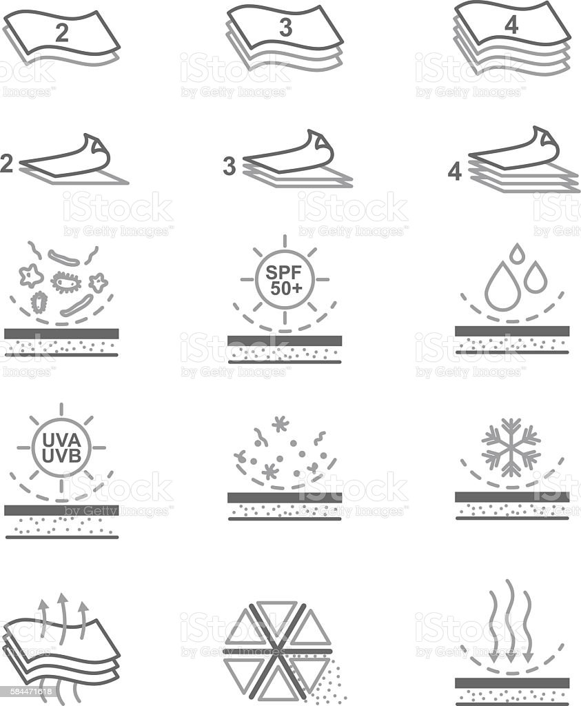 Fabric Properties Vector Line Icons vector art illustration