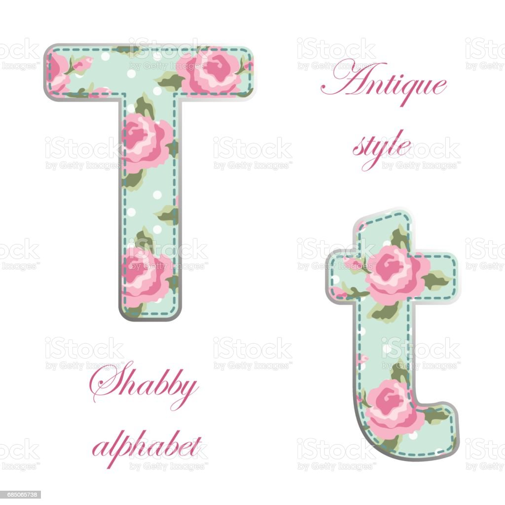 Fabric retro letters in shabby chic style royalty-free fabric retro letters in shabby chic style stock vector art & more images of alphabet