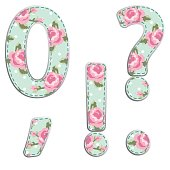 Fabric retro numbers in shabby chic style
