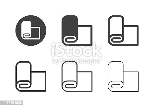 Fabric Roll Icons Multi Series Vector EPS File.