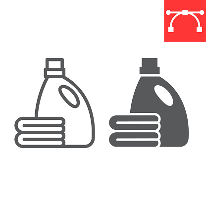 Fabric softener line and glyph icon, dry cleaning and wash, towel sign vector graphics, editable stroke linear icon, eps 10.