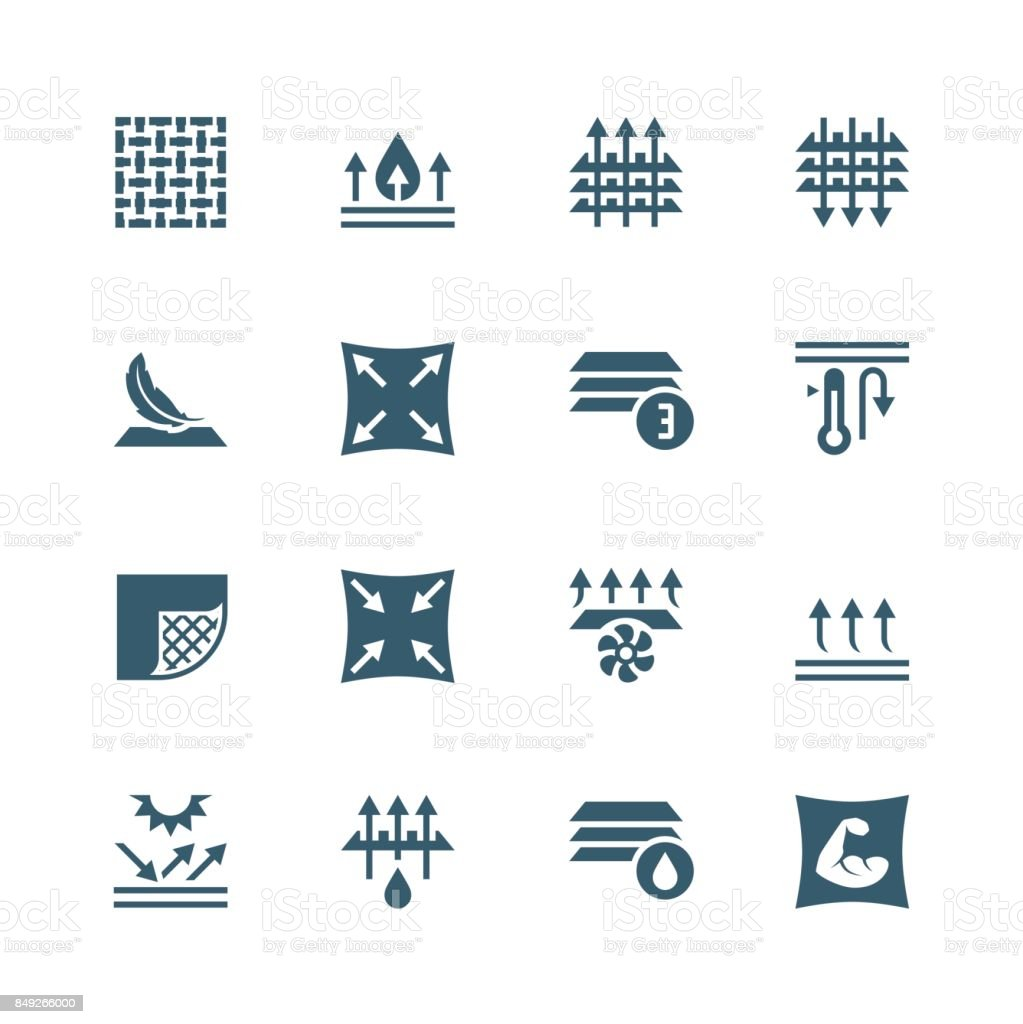 Fabric technology and properties vector icon set vector art illustration