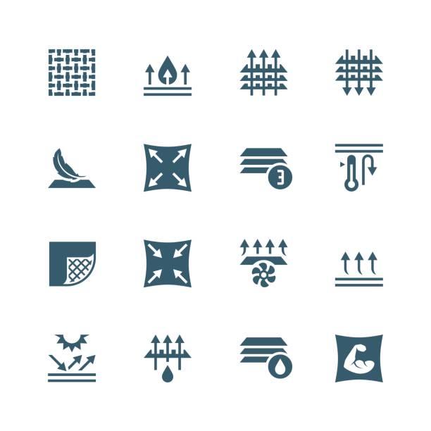 stoff-technologie und eigenschaften vektor-icon-set - freiflächen stock-grafiken, -clipart, -cartoons und -symbole